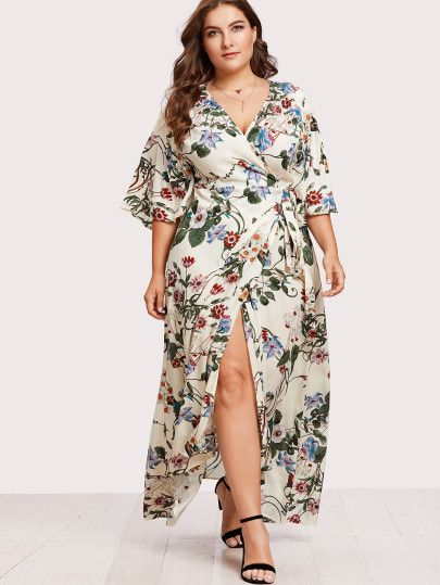 f5306816dc Shop Plus Kimono Sleeve Surplice Wrap Botanical Dress online. SheIn offers  Plus Kimono Sleeve Surplice Wrap Botanical Dress & more to fit your  fashionable ...