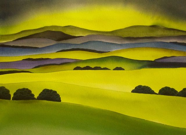 textures, trees,art, landscapes,hills,New Zealand, paintings, rural views, countryside, Hawkes Bay, coastal views, Napier, contemporary, vibrant,colourful,watercolour, Te Mata Peak, Cape Kidnappers