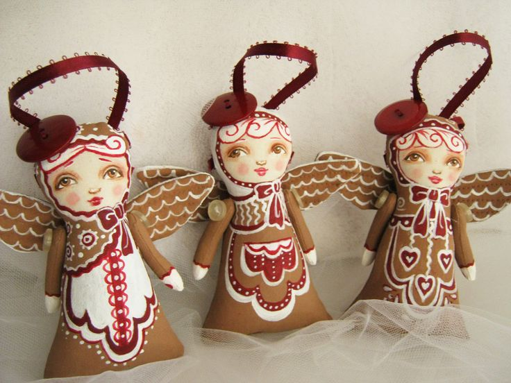Gingerbread Angel Tree Trimmers by Hally Levesque of Creative Doll Works