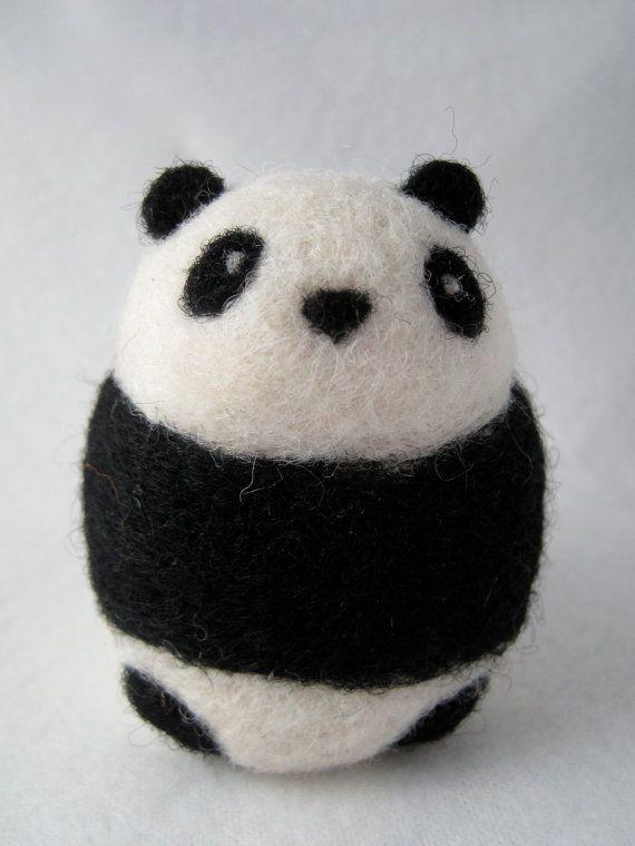 Panda Bear Needle Felted Wool Animal by Woolnimals on Etsy
