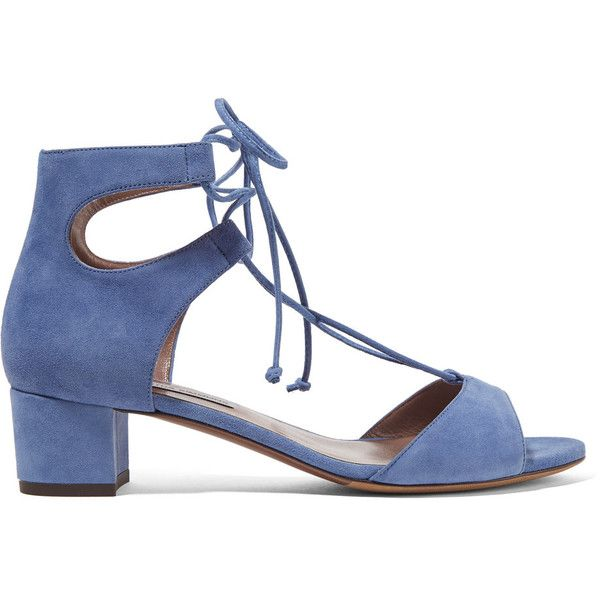 Tabitha Simmons Tallia suede sandals ($165) ❤ liked on Polyvore featuring shoes, sandals, heels, suede lace up sandals, mid-heel sandals, lace-up sandals, heeled sandals and blue heeled shoes