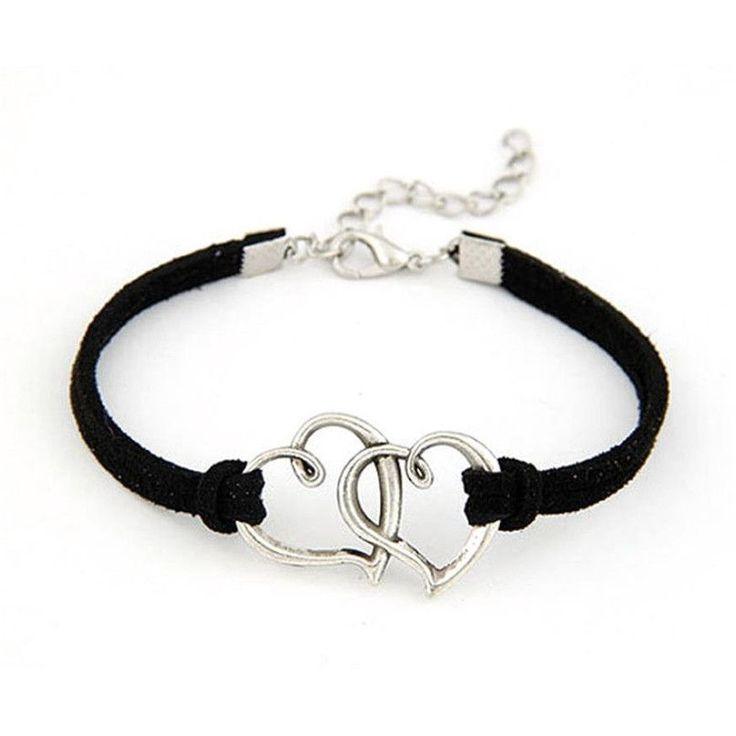 Modern 1PC Women Love Heart Handmade Alloy Rope Charm Jewelry Weave Bracelet Gift WSep23