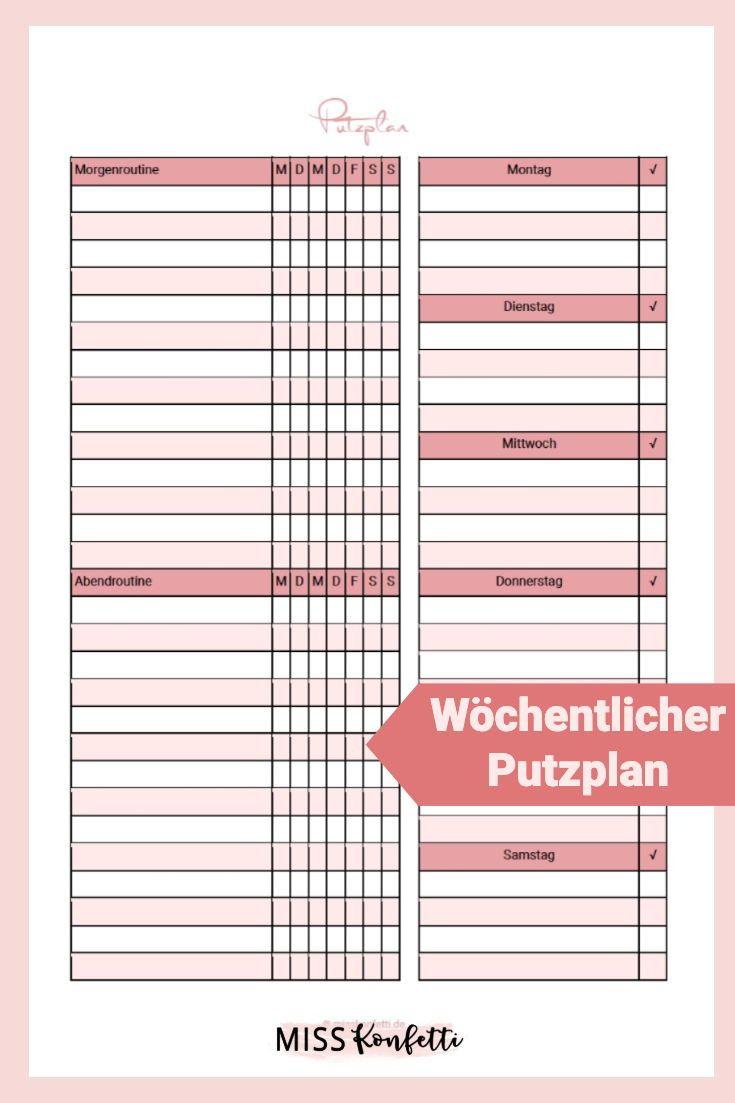 Putzplan Vorlage Fur Weniger Arbeit Im Haushalt Planer Putzplan Haushaltsplan Vorlage