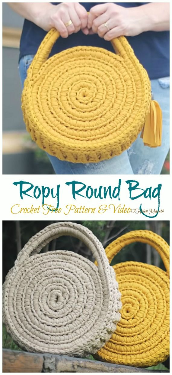 Ropy Round Bag Crochet Free Pattern [Video]