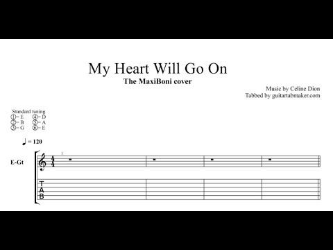 My Heart Will Go On easy instrumental guitar tabs - pdf guitar sheet music download - guitar pro tab video