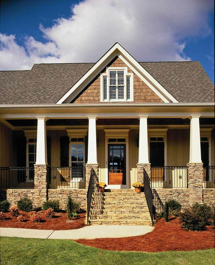 32 best images about house exterior on pinterest for Stone house plans with porch