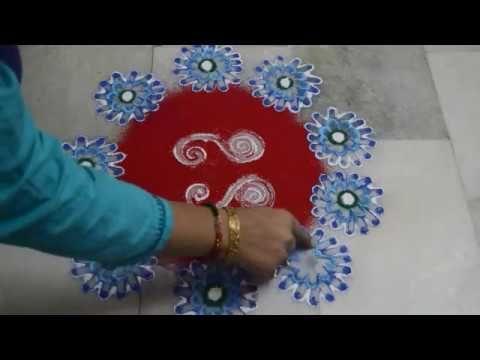 lines rangoli// 2 small n quick rangoli design by nidhi jain - YouTube