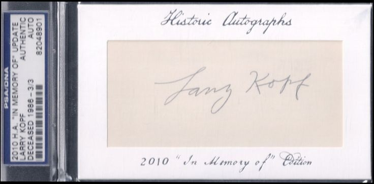 Larry Kopf autograph (Cincinnati Reds 1919 World Series)
