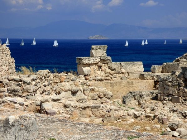 Kolonna Site with sails. Aegina Town