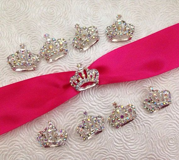 Princess Crown Rhinestone Buckle Slider, Ribbon Slider ...