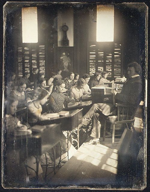 """1850 """"Classroom in the Emerson School for Girls"""" photograph. // Is that Mr. M'choakumchild?"""