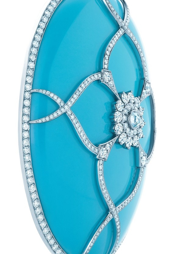 Tiffany & Co turquoise pendant with diamonds in platinum.