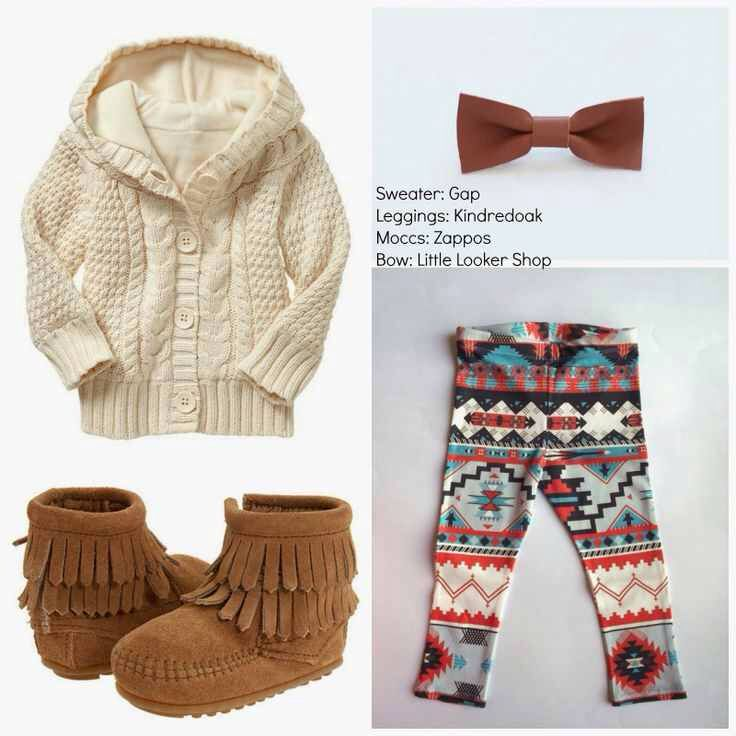 My fall style for my little girls Maliyah and Aniyah...Sweater, Aztec leggings, brown fringed moccasins, and a matching bow! Love all of it