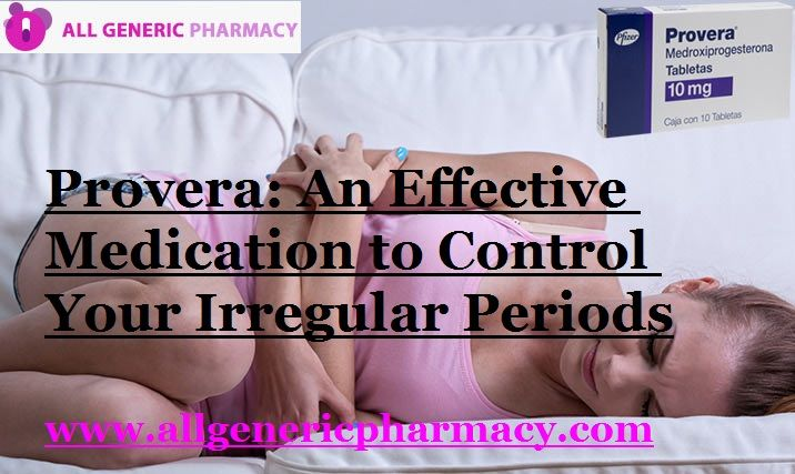 #Provera comes under the class of medication known as Progestin. It produces action by prohibiting the growth of the lining of the uterus and by causing the uterus to produce certain hormones.#BuyProvera online to manage menstrual disorder. Order now and get maximum offer, get it delivered with fastest shipping facilities.