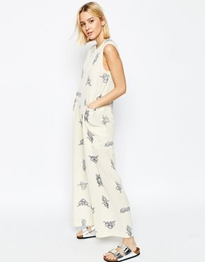 ASOS WHITE Silk Wide Leg Jumpsuit In Rope Print