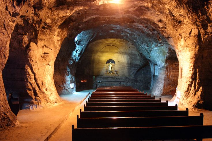 Catedral de Sal. Zipaquira, Colombia. This is a great touristic spot in Colombia. This cathedral was built inside of this huge salt mine. Try licking the walls :)