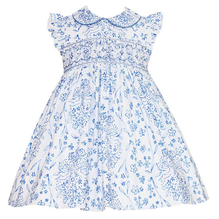 Anavini Blue French Toile Bunnies Girls Smocked Easter Dress from Madison-Drake Children's Boutique