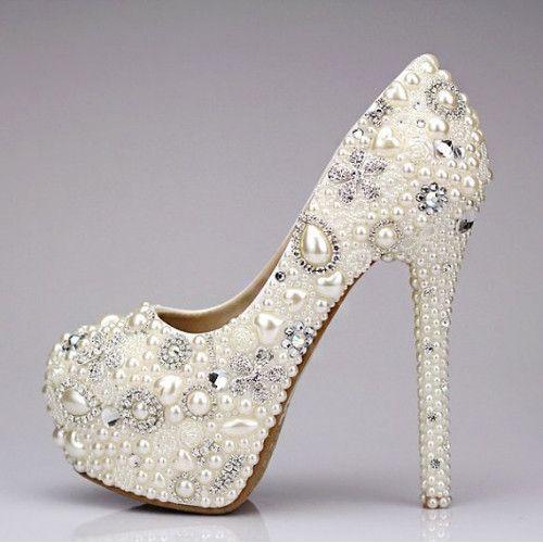 Custom Womens White Wedding Formal Swarovski Crystal Rhinestones U0026 Pearls  High Heel Bling Shoes, Pointed