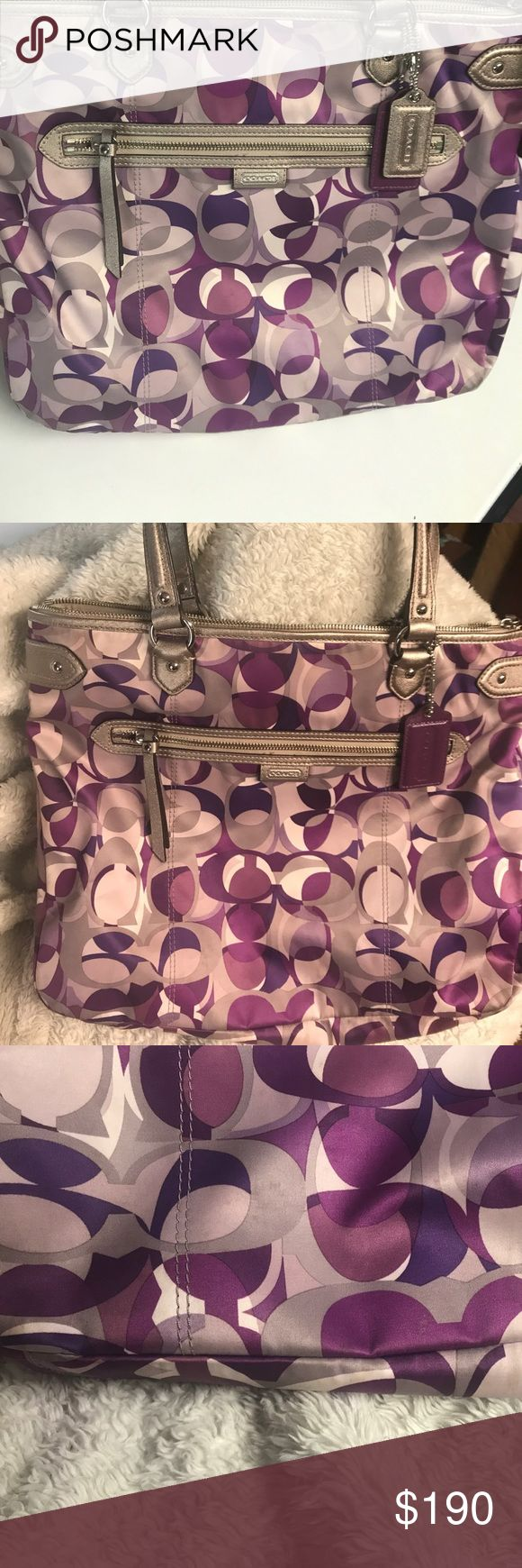 Authentic coach purse This is a beautiful grey purple and white coach purse . It's a larger size purse with a zipper pocket in the front and an open pocket on the back . The handles are in excellent condition . This purse is in loved used condition meaning there are some signs of use on the bottom and some on the front towards the bottom of the bag . I tried to get a picture to show the spots the best I could . Feel free to ask any questions ! Coach Bags Satchels