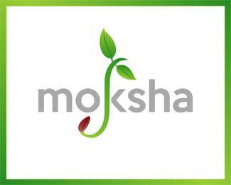 moksha Logo design - Fantastic logo for organic food related business.<br /><br />Moksha meaning liberation in sanscrit language. Price $500.00