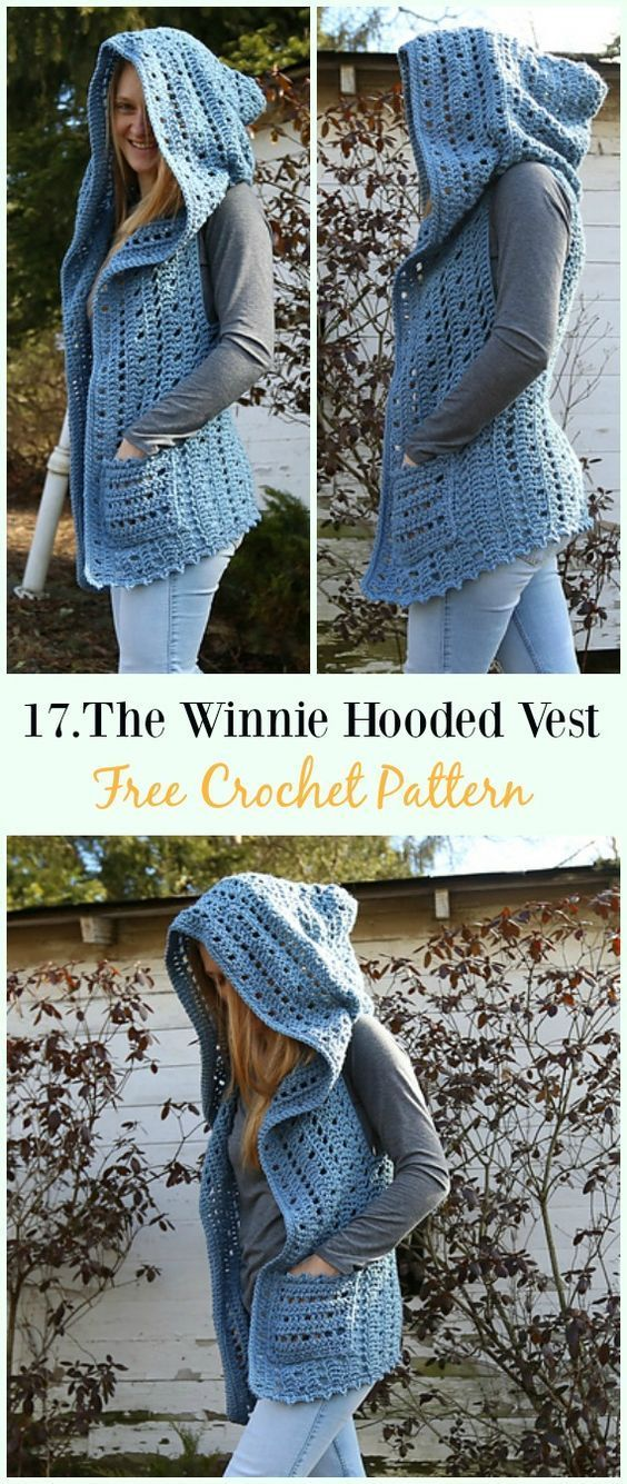 The Winnie Hooded Vest Crochet Free Pattern Crochet Women Vest