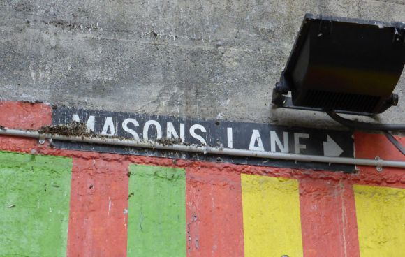 Mason's Lane Some of these are official and longstanding routes – like Mason's Lane, named after William Mason who had a blacksmiths shop at the back of the site (maybe where John's Kitchen and Takeaways is now)