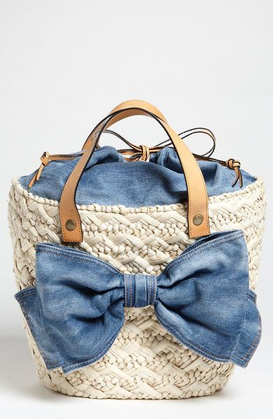 VALENTINO  Straw Denim Bow Bucket Bag - Lyst