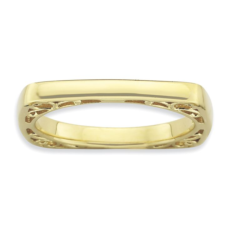 Sterling Silver Stackable Expressions Polished Gold-plate Square Ring QSK780