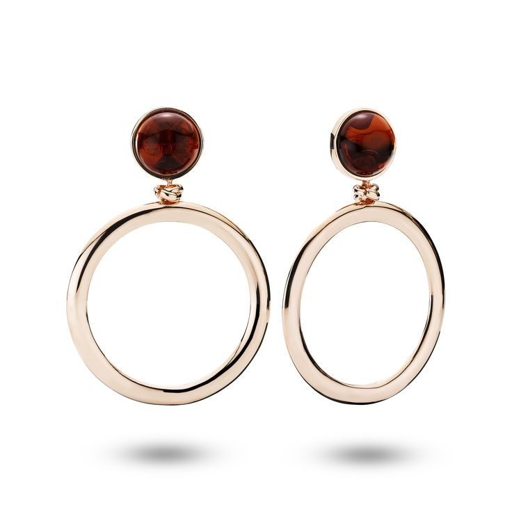 House of Amber - Rose gold silver earrings with cherry amber.