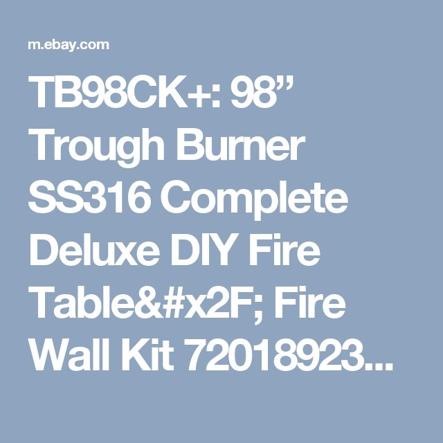 "TB98CK+: 98"" Trough Burner SS316 Complete Deluxe DIY Fire Table/ Fire Wall Kit 720189234705 