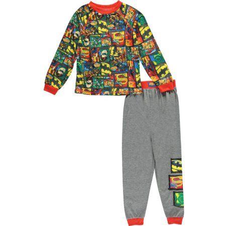 Justice League Big Boys' Character Panels 2-Piece Pajamas (Sizes 8 - 20), Multicolor