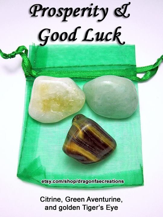 Crystals for prosperity & good luck - Citrine, Green Aventurine and Golden Tiger's Eye.