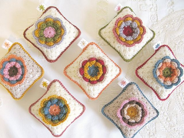 granny square mini pillows