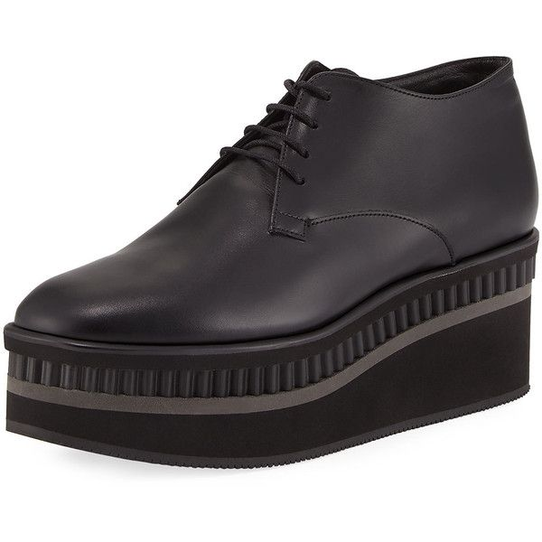Robert Clergerie Limmy Platform Leather Oxford ($575) ❤ liked on Polyvore featuring shoes, oxfords, black, shoes sneakers, platform oxford shoes, black platform oxfords, black wedge shoes, platform wedge shoes and platform shoes