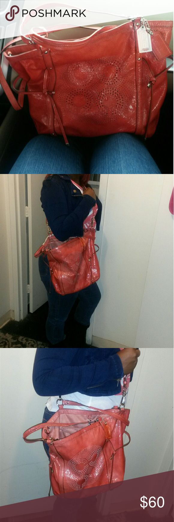 """Authentic Tangerine coral coach handbag purse PreOwned Coach Satchel  Big and Roomy with long straps.. I'm 5""""8 for reference Coach Bags Shoulder Bags"""