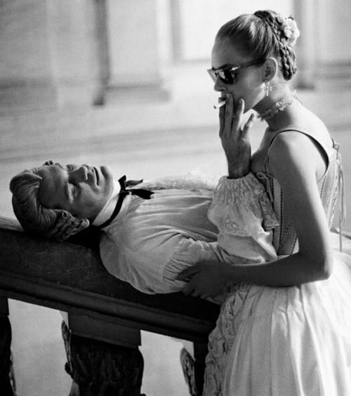 "my18thcenturysource: "" Behind the scenes photos really are the best. This one if of John Malkovich and Uma Thurman while filming Dangerous Liaisons in 1988. """