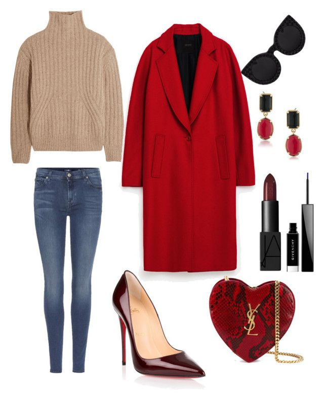 """Girls lunch time"" by elenazaharia on Polyvore featuring Totême, 7 For All Mankind, Christian Louboutin, Yves Saint Laurent, Delalle, 1st & Gorgeous by Carolee, NARS Cosmetics and Givenchy"