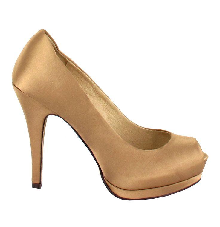 Zapato de tacón Peep Toe con plataforma, en Dorado. Para los que buscan  comodidad
