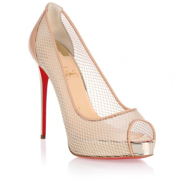 Christian Louboutin Very Rete 120 beige pump ($965) ❤ liked on Polyvore featuring shoes, pumps, beige, metallic pumps, metallic peep toe pumps, platform pumps, beige platform pumps and high heel pumps