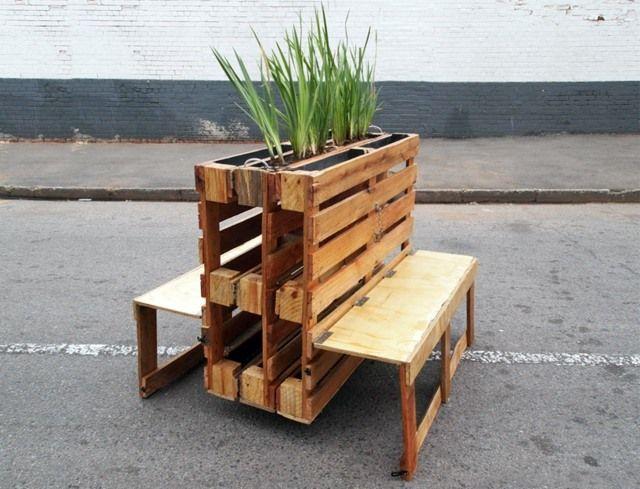 Holzpaletten Gartenbank Pflanzkasten modern platzsparend