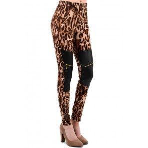 Leopardiprinttikuvioidut wetlook legginsit