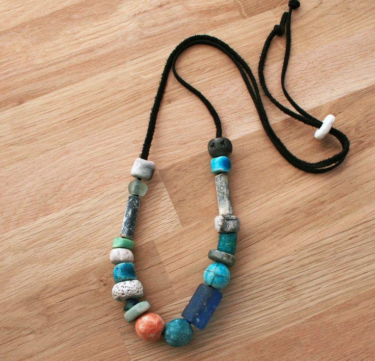 Spring Sun Artisan Ceramic Beads Necklace/ handmade art beads/ blue Raku/ pit fired / recycled glass/ vintage pipe/ porcelain/ modern boho by CopperLarkStudio on Etsy