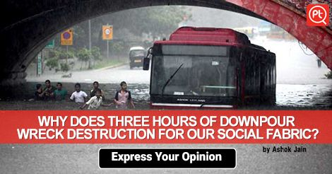 What do you think causes this kind of #waterlogging from only few hours of Rain? #ExpressYourOpinion #Posticker #Delhi