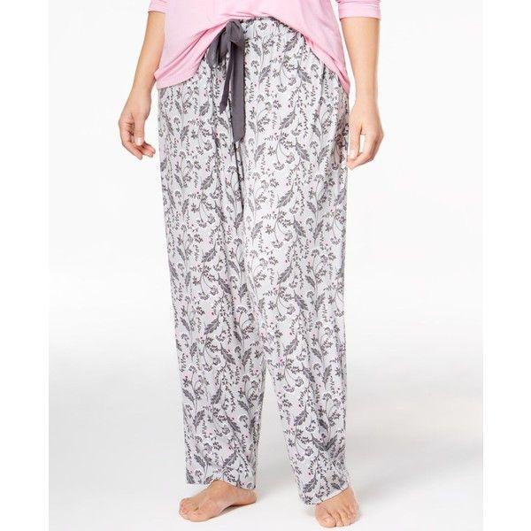 Alfani Plus Size Printed Knit Pajama Pants, ($32) ❤ liked on Polyvore featuring plus size women's fashion, plus size clothing, plus size intimates, plus size sleepwear, plus size pajamas, stone grey, plus size pyjamas, knit sleepwear, alfani pajamas and knit pajamas