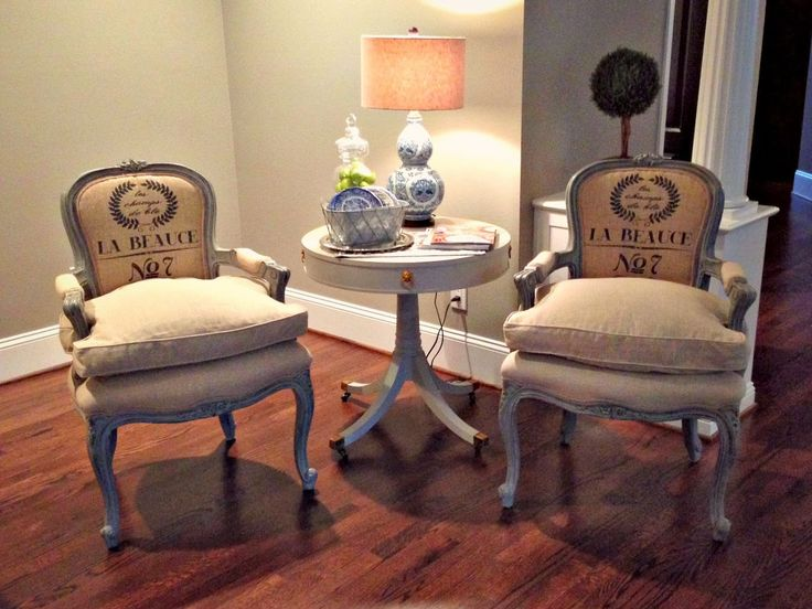 burlap furniture. french chair makeover with down cushions burlap furniture