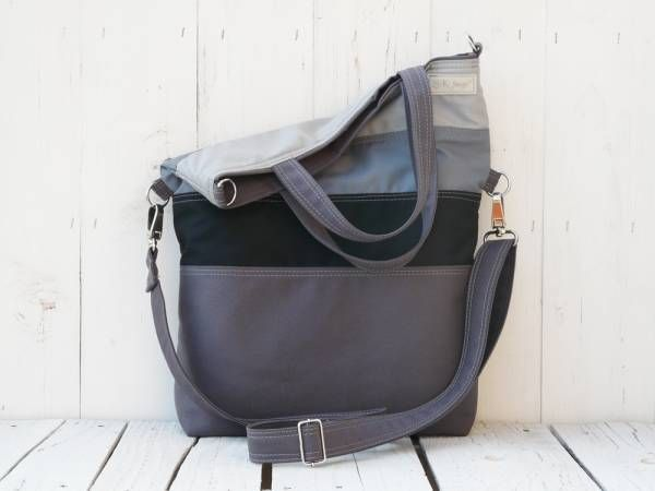 Tote Bag Canvas, Grey striped messenger cross body, Charcoal laptop carrier, Unisex macbook pack, Convertible bag, present for men women