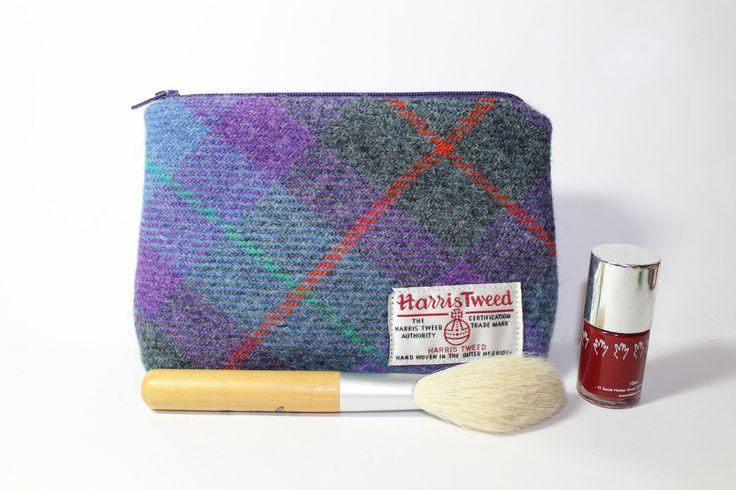 Make-up bag, cosmetics bag, Harris Tweed, purple/teal/grey Tartan pattern - pinned by pin4etsy.com