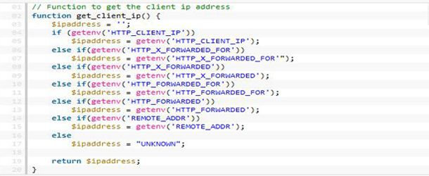 Get IP address of clients machine using PHP function