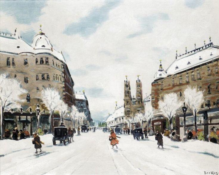 ANTAL BERKES, 1874-1938 SCÈNE DE RUE EN HIVER -