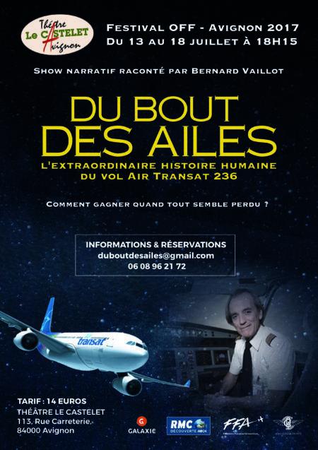 Le vol Air Transat 236 mis en scène - Aerobuzz. « Du Bout des ailes », spéctacle donné au Théâtre Le Castelet, 113 Rue Carreterie, 84000 Avignon, du 13 au 18 juillet 2017 à 18h30.